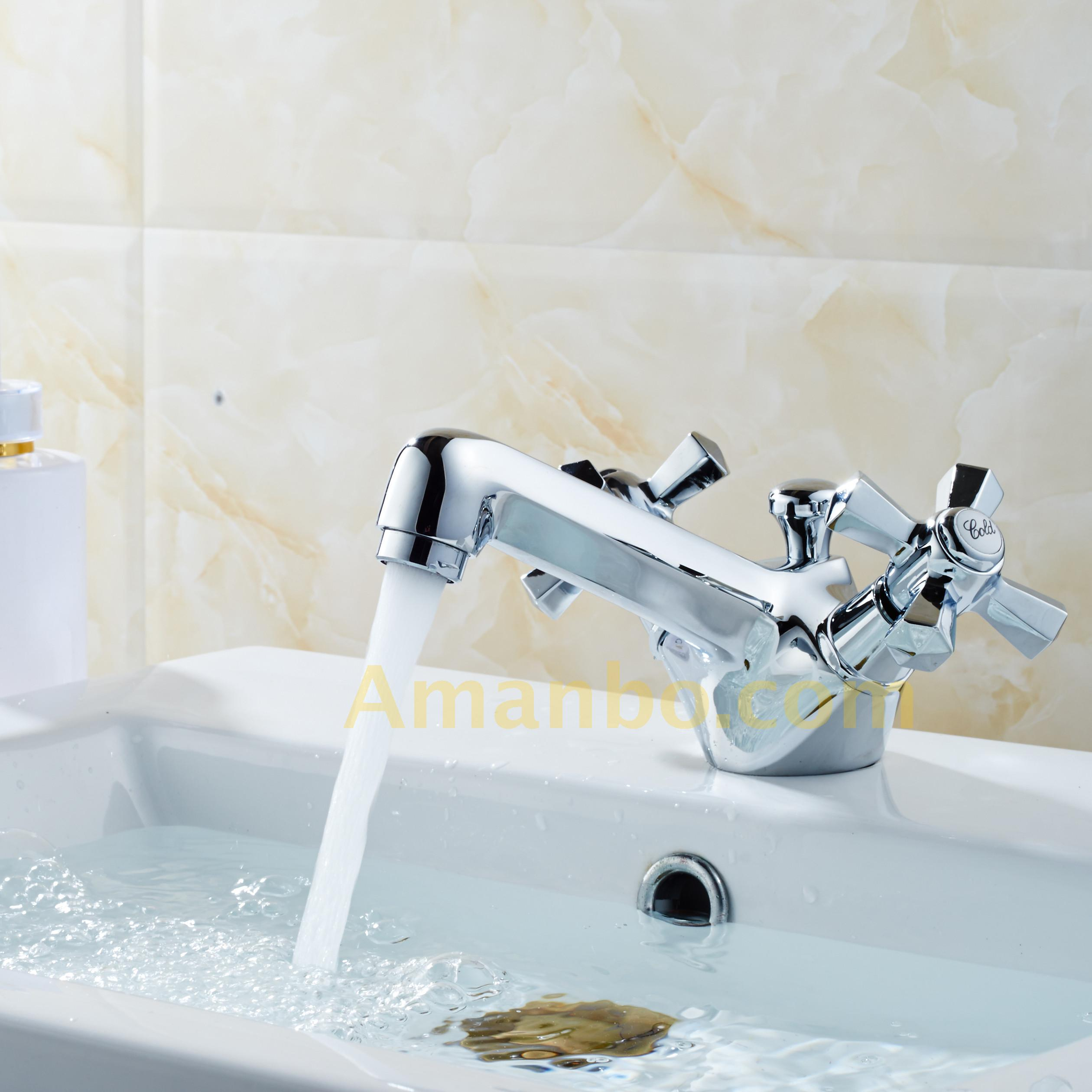Kalud Deck Mounted Dual Handle One Hole Basin Faucet Solid Brass ...